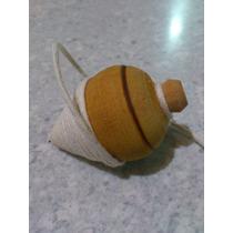 Pião / Peão De Madeira Brinquedo Antigo Torneado A Mao
