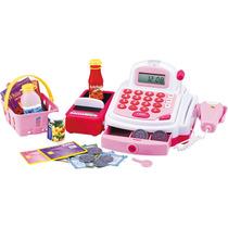 Caixa Registradora Com Acessórios Dmt3815 Dm Toys Rosa Som