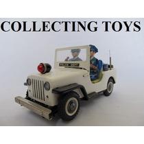 Brinquedo Antigo Jeep Police De Lata - Japan - Anos 60 (a)