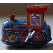 Trem Locomotiva Miniatura Lata Corda Antigo Vintage Retrô