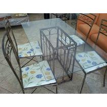 Mesa Com 4 Cadeiras Em P Dourada S Vidro