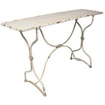 Aparador/mesa Antiga Branca Em Metal