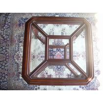 Linda E Decorativa Mesa Lateral , Tampo Vidro E Marchetaria