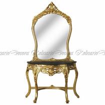 Aparador C/ Espelho Maciço Luiz Xv Folhado À Ouro T.marmore