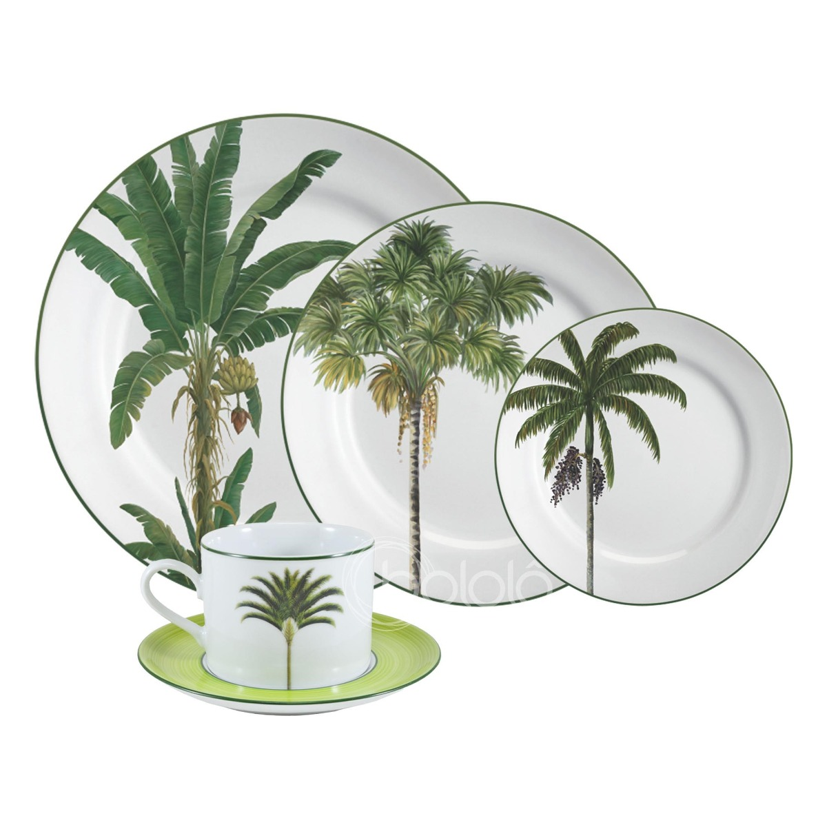 Aparelho De Jantar Palmeiras Porcelana 30 Peças Schmidt R$ 1.139 90  #7F8E3D 1200x1200