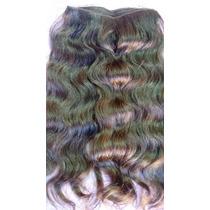 Cabelo Humano Ondulado Castanho Tela 50gr 45cm -mega Hair