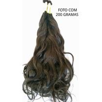 Cabelo Humano Castanho Natural Liso Ondulado De 50 Cm 200gr.