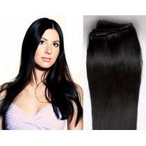Aplique Alongamento Mega Hair Tic Tac Preto Aceita Chapinha
