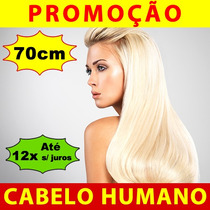 Alongamento Aplique Tic Tac Loiro Humano 70cm 120g Mega Hair