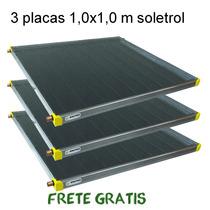Placa Aquecedor Solar 1m² Lote Com 3 Placas Coletor Solar