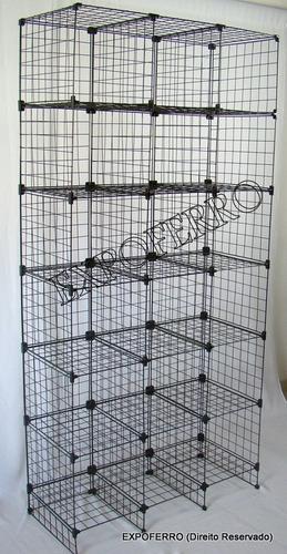 Closet Aramado Preto : Arm?rio de closet em ferro aramado preto r no