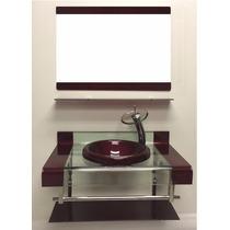 Gabinete De Vidro Para Banheiro Dupla Faixa 80cm Vermelho