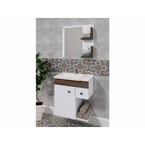 Balcão Para Banheiro Smart 60x65cm Branco E Ameixa