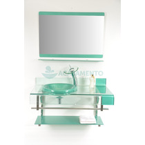 Gabinete Vidro Verde 90cm + Misturador Verde Cascata