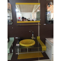 Gabinete De Vidro Amarelo Para Banheiro De 70cm