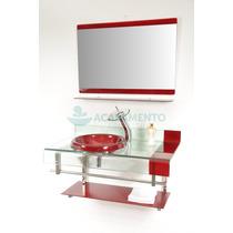 Gabinete De Vidro 70 Cm Banheiro + Misturador Cascata