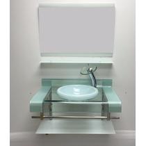 Gabinete Vidro Dup Faixa 80cm Branco + Misturador + Kit Ace