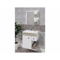 Balcão Para Banheiro Smart 60x65cm Branco E Linho