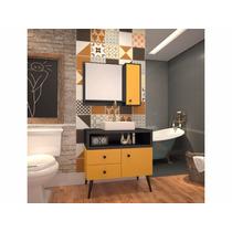 Balcão Retrô Tebas 80x82cm Com Cuba E Espelho Amarelo/preto