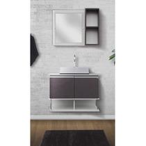Balcão Para Banheiro Luminus Piombo + Espelho + Cuba 601