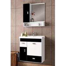 Conjunto Para Banheiro Orquídea 60 - Branco & Preto - Cozim