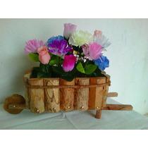 Carriola Arranjo Flores Artificiais Madeira Vaso Cachepô