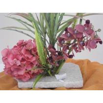 Arranjo Flor Artificial Hortencia E Orquideas Med 40x40 Cm