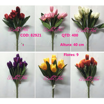 Kit 5 Flores Artificiais Tulipa 40cm Pronto Entregam