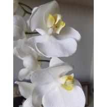 Flor Artificial Hiper Realista - Orquidea Branca - 2 Ramos