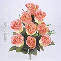 B.c/9 Botões Micropeach Salmão 45cm - Flores Artificiais