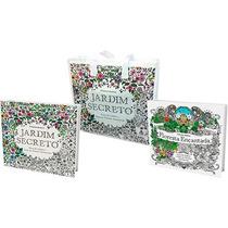 Kit Livro Colorir Jardim Secreto + Floresta Encantada +bolsa
