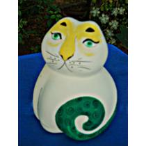 Gato Cerâmica Faiança Pintado À Mão Artes Zapt/li