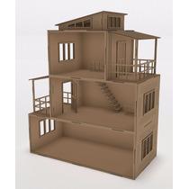 Casa De Boneca Montada 62x52x26 Cm Hdf (mdf) Escala Polly