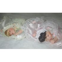 Boneca De Porcelana Bebê Estilo Antigo Dorminhoca C/ Colchão