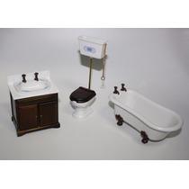 Banheiro Miniatura Casa Boneca - Esc.1/12 - Móveis Miniatura