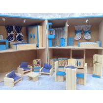 Casinha De Boneca Madeira Polly Cor Azul