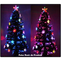 Árvore De Natal 1,20 Mts Com Fibras Óticas E Leds Coloridos