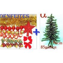 Árvore De Natal Verde Nevada Pinheiro 90cm 85g+50 Enfeites