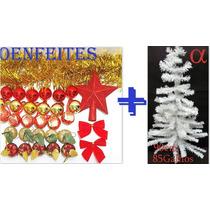 Árvore De Natal Branca Pinheiro 90cm 85g+50 Enfeites.alfa.