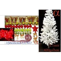 Árvore De Natal Branca 2,1m 600g +piscaled +150enfeites.alfa