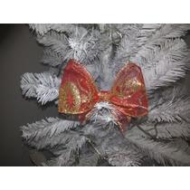 Laço De Natal Dourado E Vermelho Simples(13cm- 10 Unidades)