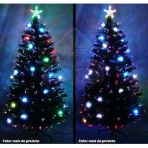 Árvore De Natal 1,50 Mts Com Fibras Óticas E Leds Coloridos