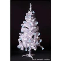 Árvore Natal Pinheiro Canadense Branco 120cm +21 Enfeites