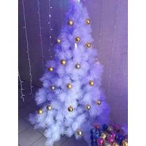 Arvore De Natal Branca Canadense C/ Bolas E Led Azul 1,5m