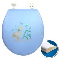 Assento Sanitário Almofadado Soft Azul Tampa Vaso Decorado