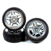 Rodas Yeah Racing Wheel & Tire Set 5-spoke 24mm (prata)