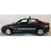 Miniatura Em Metal Carro De Polícia Alfa Romeo 156