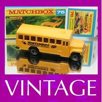 1985 Matchbox Lesney School Bus + Box Custom 1/64 Jeep Mini