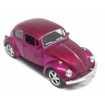 Carrinho Fusca Violeta Metálico Rebaixado Com Rodas Fricção