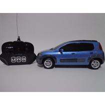 Carro Controle Remoto Fiat Novo Uno Azul 1/18 Cks